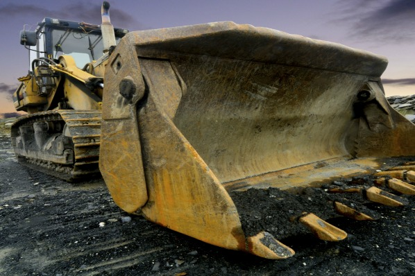 Image of a Quarry Shovel at sunset.